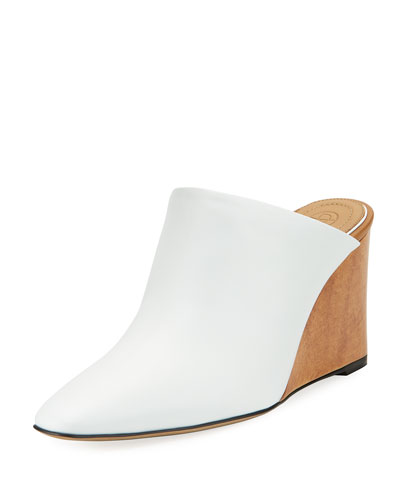 Flora Leather Wedge Mule