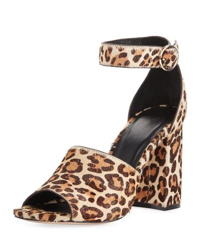 Lahoma Chunky Leopard-Print Calf Hair 95mm Sandal