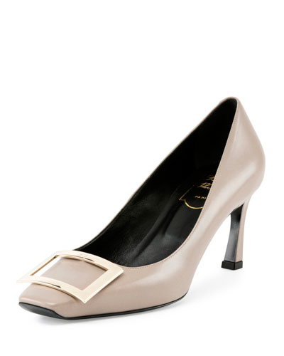 Trompette Leather 70mm Pump, Stone