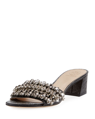 Beverly Embellished Crinkle-Leather Slide Sandal