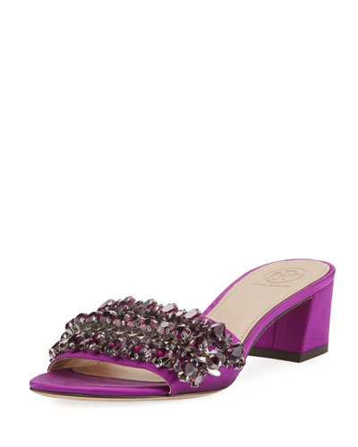 Beverly Embellished Satin Slide Sandal
