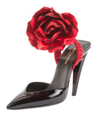 Patent Slingback Pump w/Rose Flower