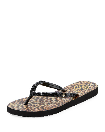 Jeweled Thin Platform Flip Flop, Leopard