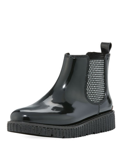 Lulu Crystal-Studded Short Rubber Rain Bootie