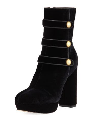 Maisie Velvet Platform Ankle Boot