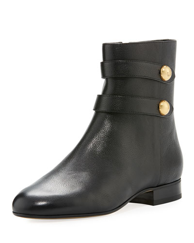 Maisie Flat Leather Button Bootie