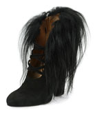 Suede Bootie with Fur Trim