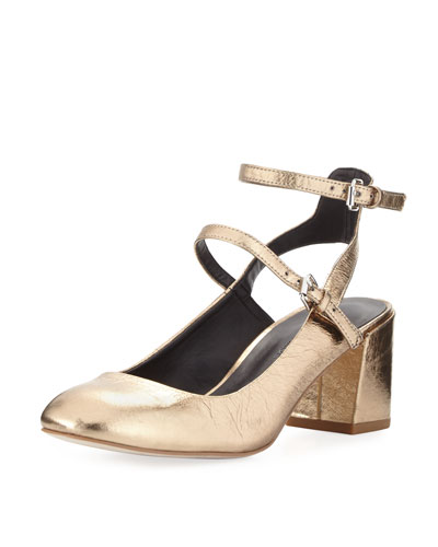 Brooke Metallic Leather Chunky Heel Pump
