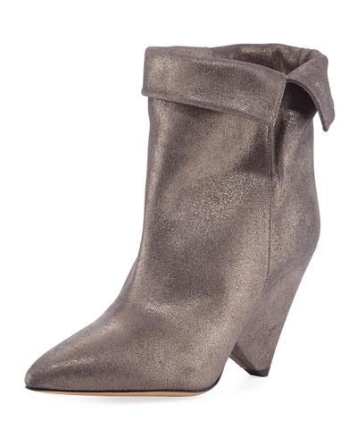 Luliana Cone-Heel Glitter Booties