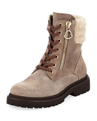 New Viviane Fur-Trim Suede Hiker Boot