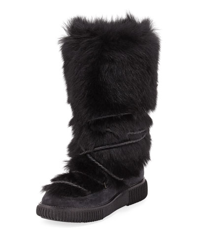 Katia Tall Fur Platform Boot, Black