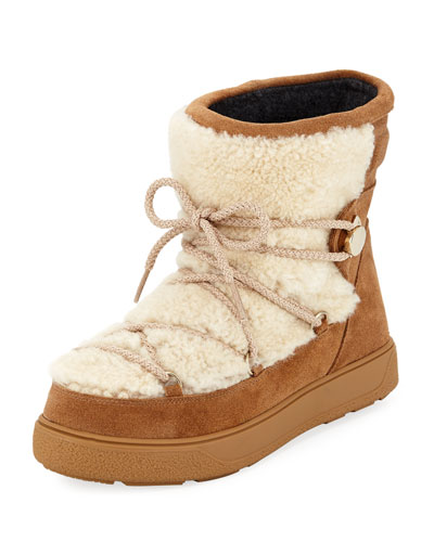 New Fanny Shearling-Paneled Glittered Suede Snow Boots, Camel