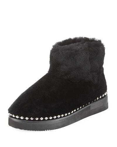 Black Shearling Ball Stud Yumi Boots