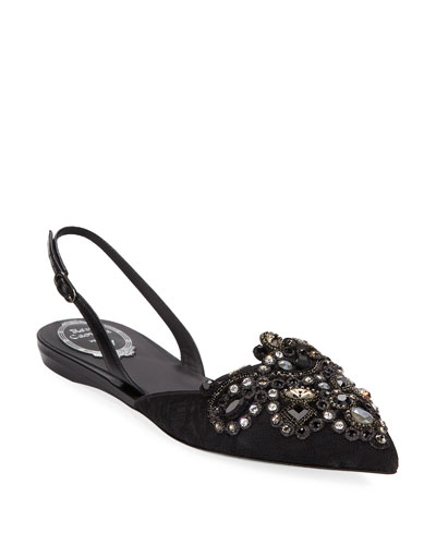 Embroidered Halter Slingback Flat