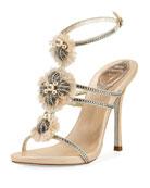 Embellished Triple-Strap Sandal