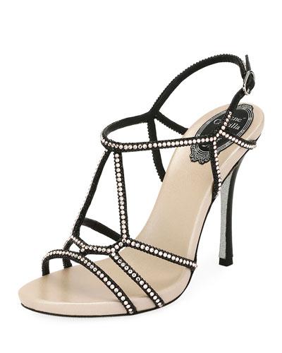 Crystal-Studded Satin T-Strap Sandal