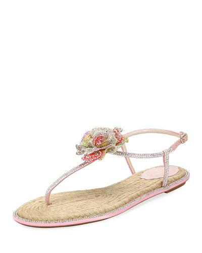 Crystal-Embellished Floral Flat Sandal