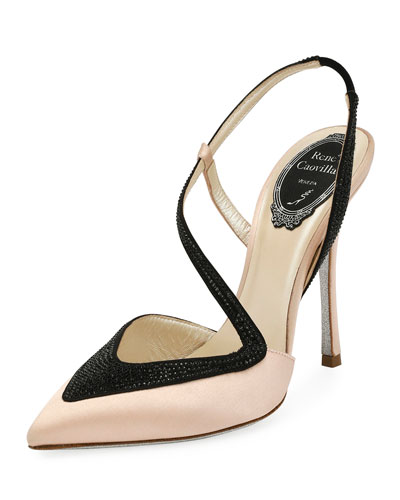 Asymmetric Embellished Satin Pump