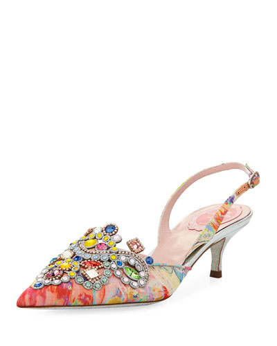 Embellished Printed Fabric Slingback Pump
