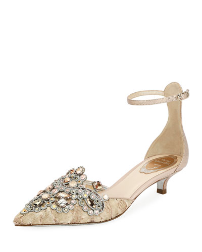 Embellished Lace 35mm Pumps