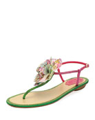 Embellished Leather Flat Sandal w/ Flower