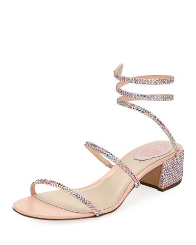 Snake-Coil Satin Chunky-Heel Sandal