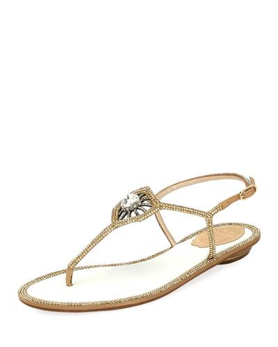 Embellished Satin Flat Thong Sandal