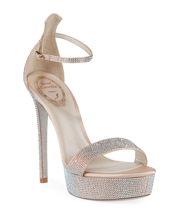 130mm Crystal-Studded Satin Platform Sandal