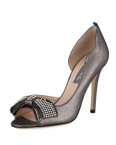 Dahlia Embellished Bow Pump, Anthracite Pewter
