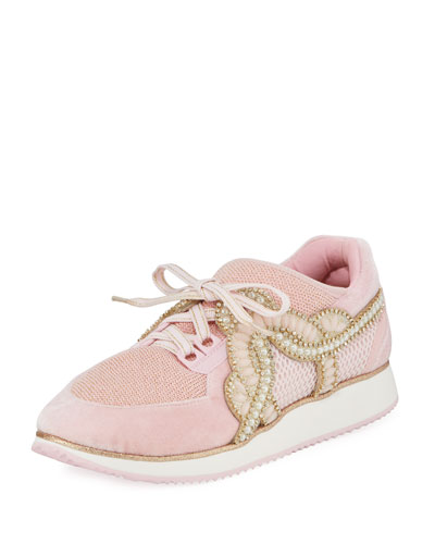 Royalty Embellished Lace-Up Trainer Sneaker
