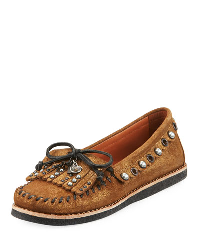 Roccasin Embellished Metallic Moccasin