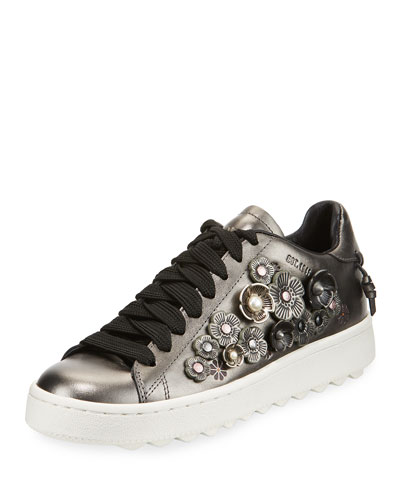 Tea Rose Metallic Leather Low-Top Sneaker