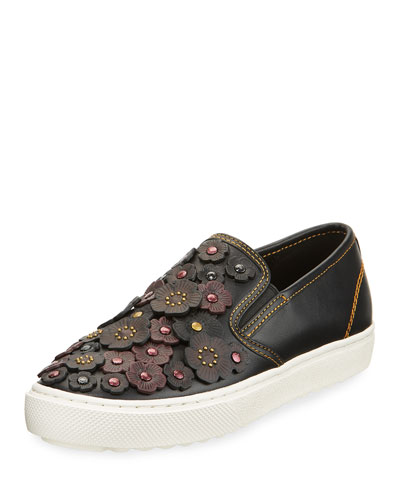 Tea Rose Embellished Leather Skate Sneaker