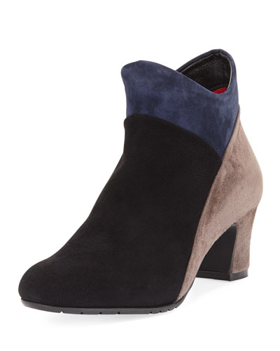 SESTO MEUCCI Mallia Colorblock Comfort Boot, Black in Black Suede