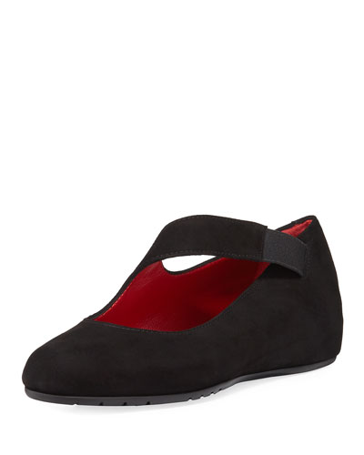 Rian Asymmetric Comfort Wedge Flat, Black