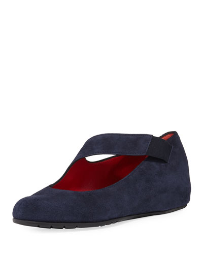 Rian Asymmetric Comfort Wedge Flat, Navy