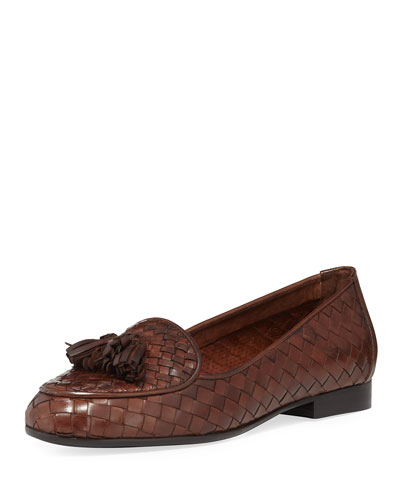 Nash Woven Tassel Loafer, Dark Tan