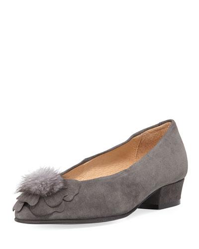 Ange Flower Fur Pouf Suede Pump, Gray
