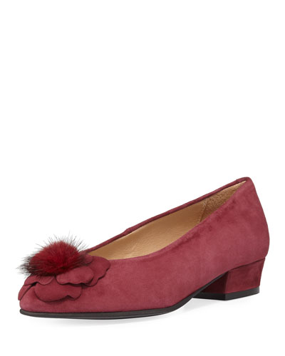 Ange Flower Fur Pouf Suede Pump, Bordeaux