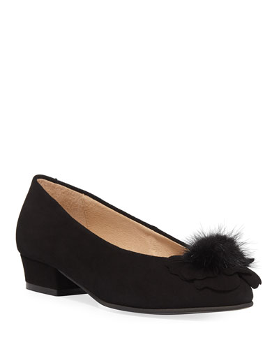 Ange Flower Fur Pouf Suede Pump, Black