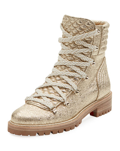 Mad Metallic Lace-Up Red Sole Boot