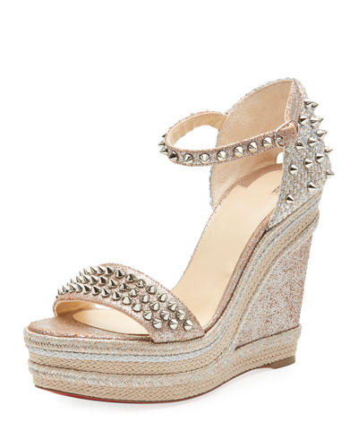 Madmonica Platform Wedge Red Sole Sandal in Silver