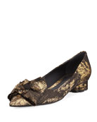 Metallic Jacquard Bow Ballerina Flat, Black/Gold