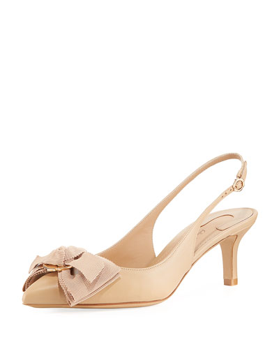 Napa Leather Flower-Bow Slingback Pump