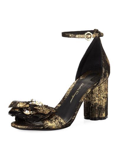 Metallic Jacquard Bow City Sandal, Black/Gold