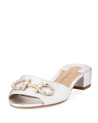 Crystal-Embellished Gancini Slide Sandal, Silver