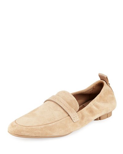 Loafer with Tonal Flower Heel, Almond Suede