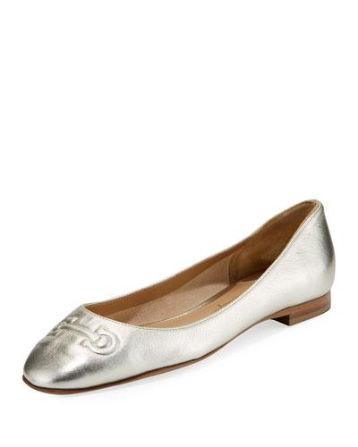 Metallic Ballerina Flat with Embossed Gancini Bit, Sahara/Platino