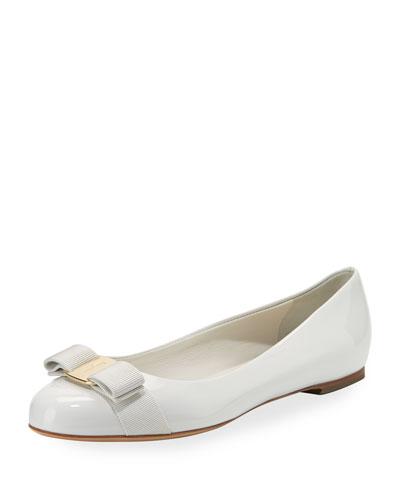 Patent Vara Bow Ballerina Flat, New Bianco