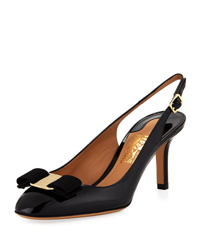 Ortigia Slingback Pump with Signature Vara Bow, Black Patent